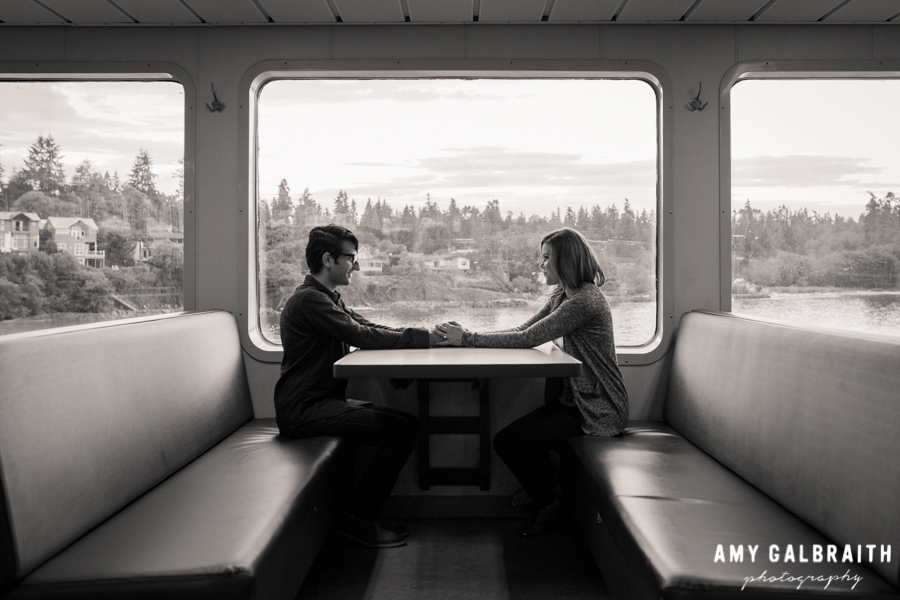 engagement session on a ferry