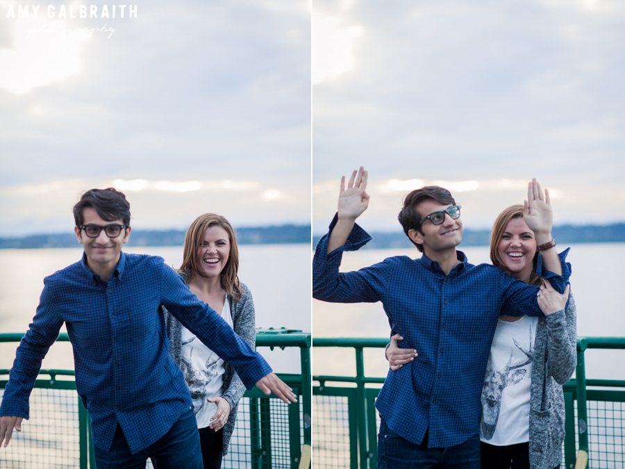 couple being goofy during their engagement photos
