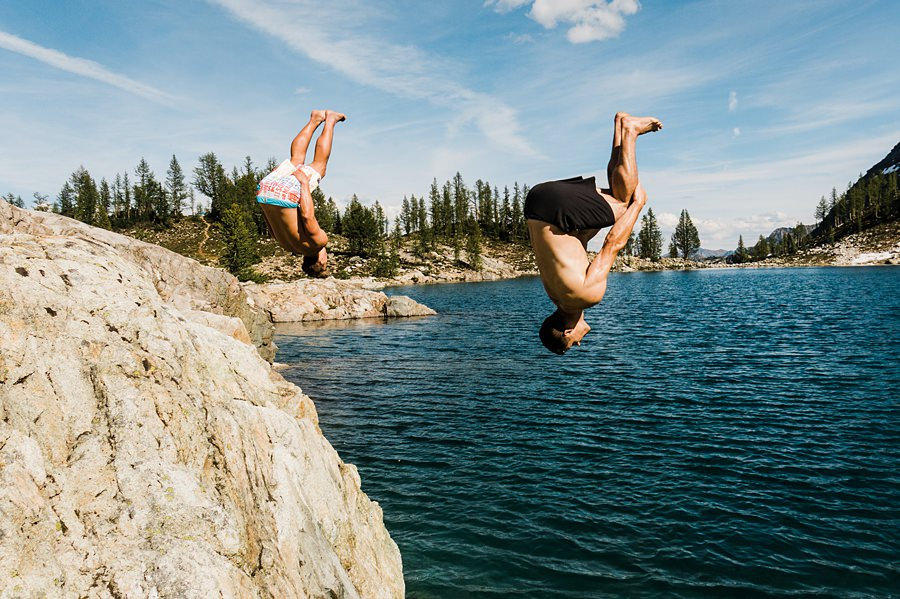 backflips into wing lake in the north cascades