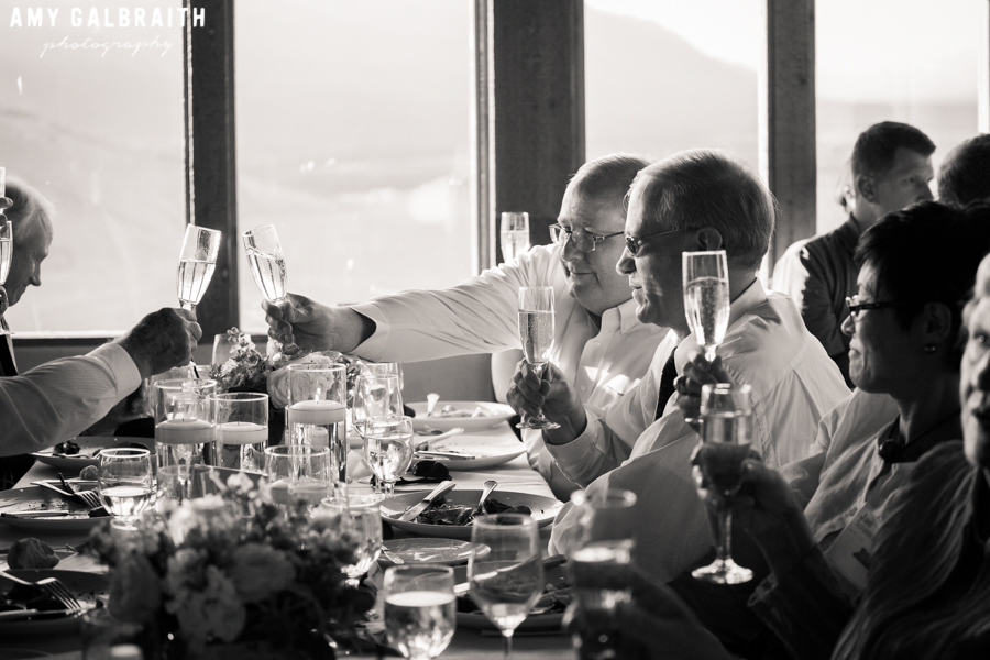 guests toasting champagne at the granary wedding