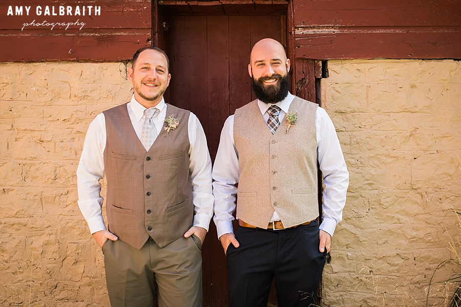groomsmen at over the vines