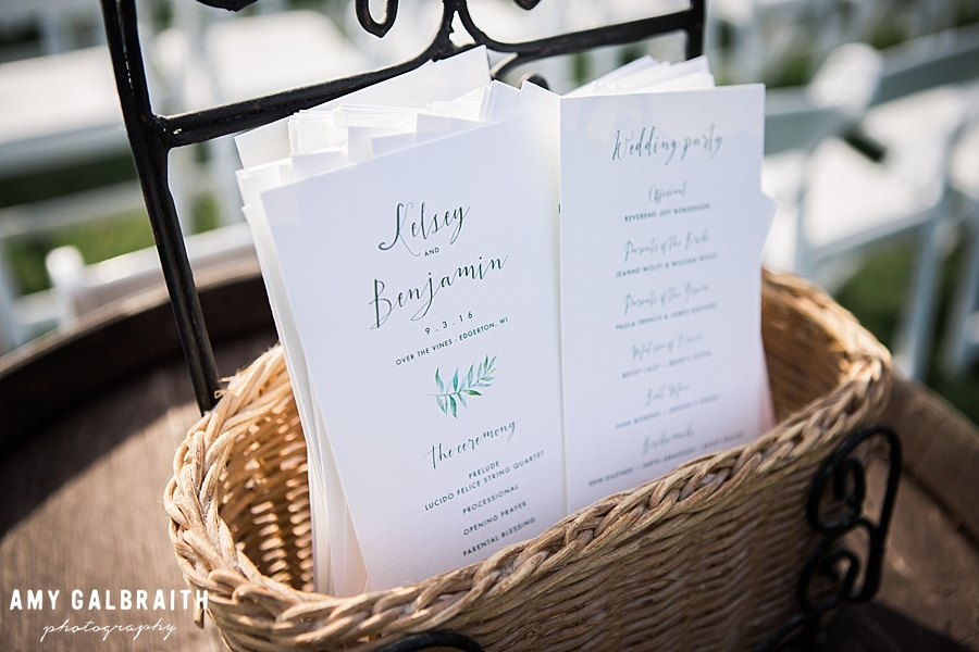 wedding programs at over the vines