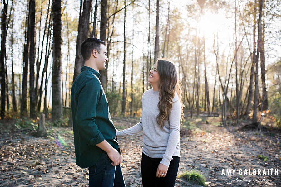 couple laughing together during their snoqualmie engagement session