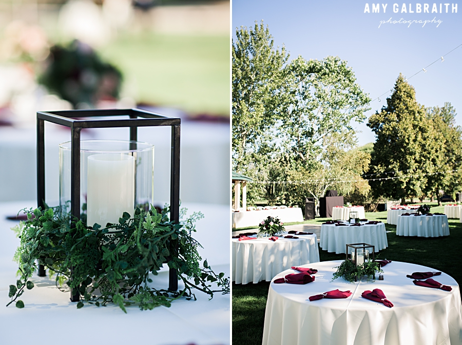 maroon and white garden romance table decor