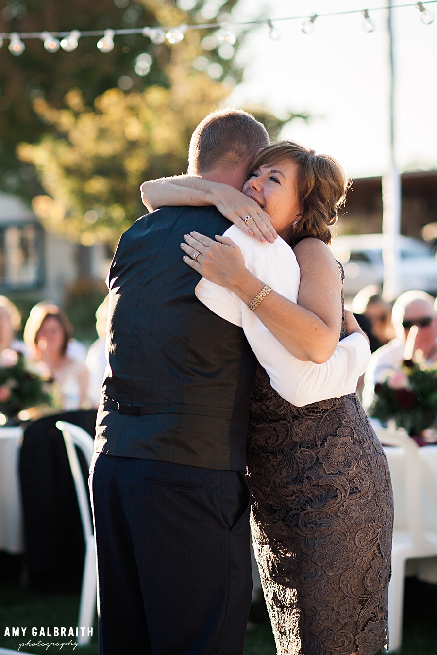 mother and son dance at honalee farm