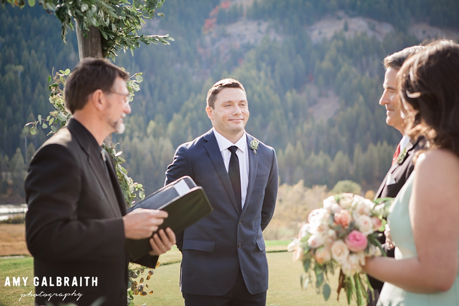 groom waiting for bride during wedding ceremony at snake river sporting club
