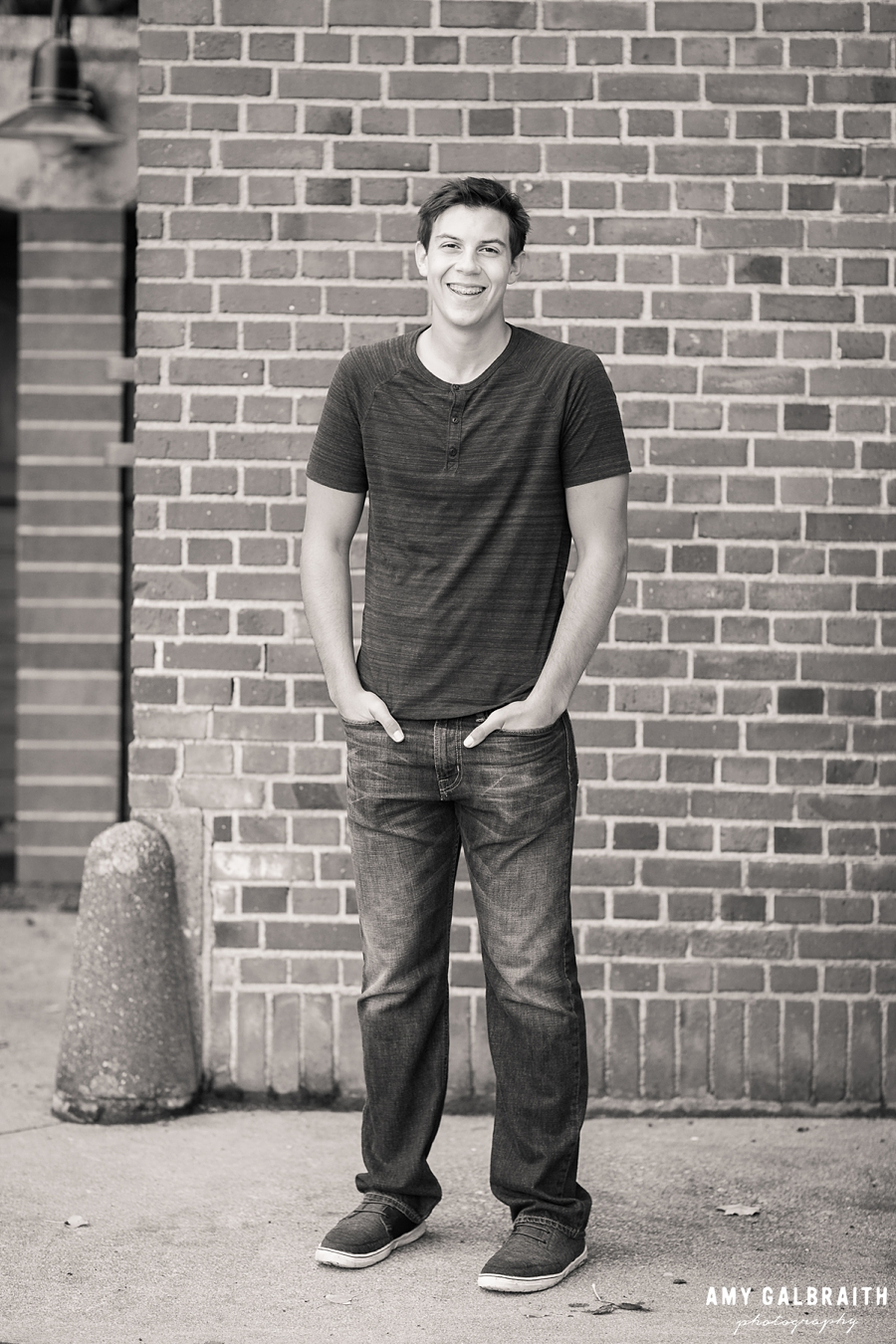black and white image of senior boy at luther burbank park