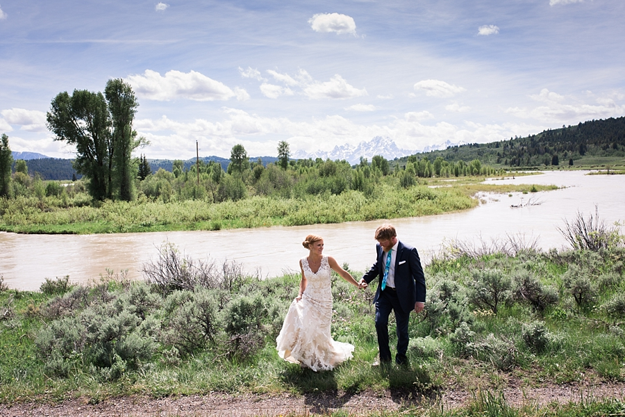 bride and groom at heart six ranch in jackson hole