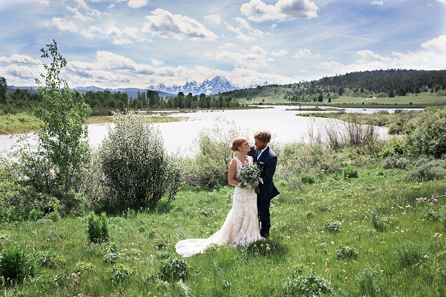 wedding photos with the tetons at heart six ranch