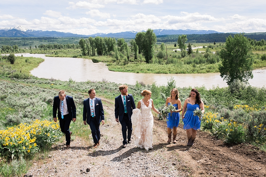 wedding party photos at heart six ranch in jackson hole