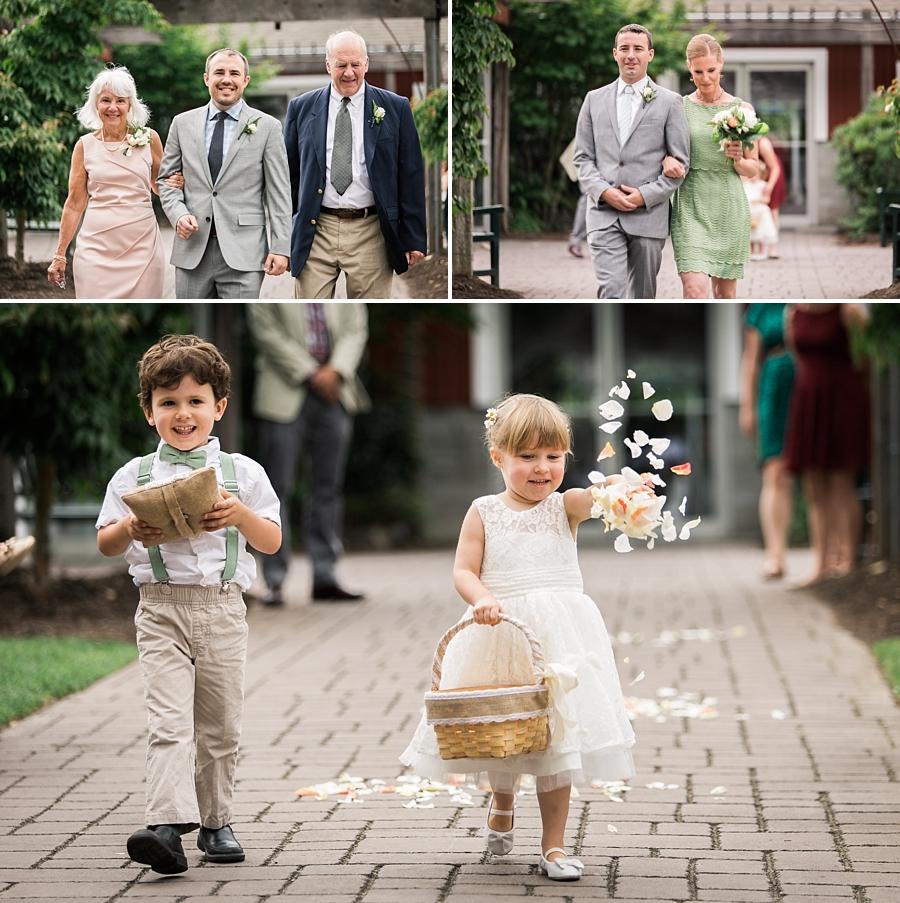 flower girl and ring bearer at pickering barn wedding