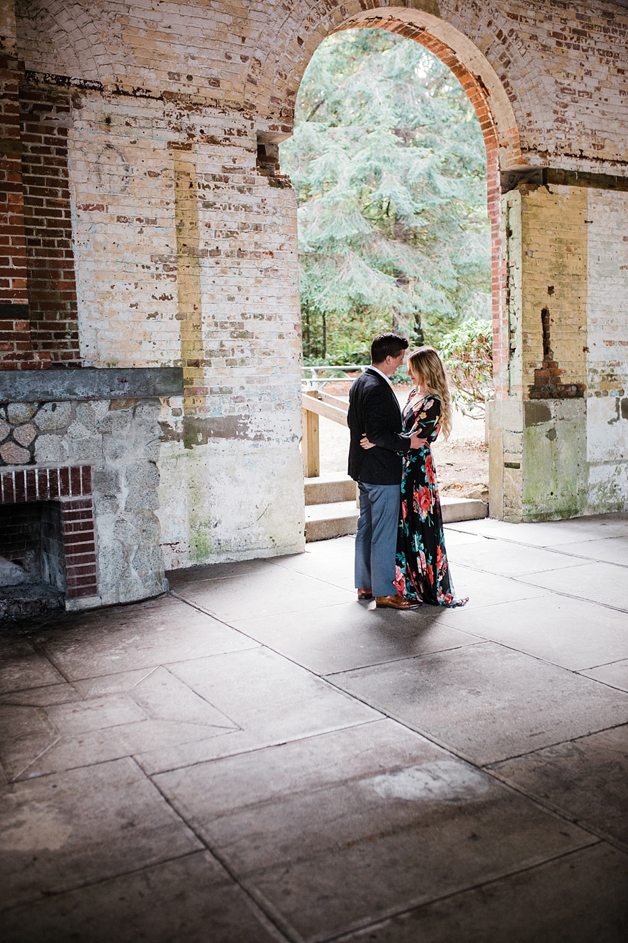 trendy couple in historic brick building at manchester state park