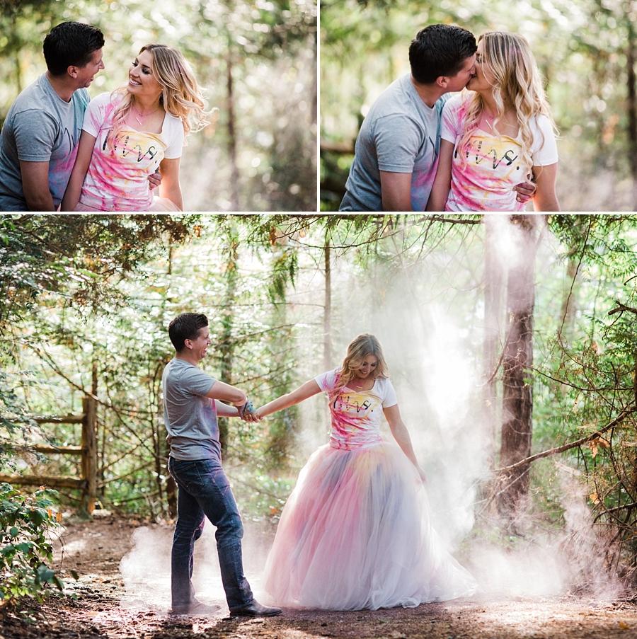 holi powder trash the dress engagement photos with vera wang wedding gown