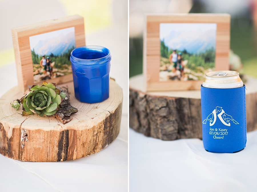 rustic mountain wedding centerpieces and wedding beer koozies