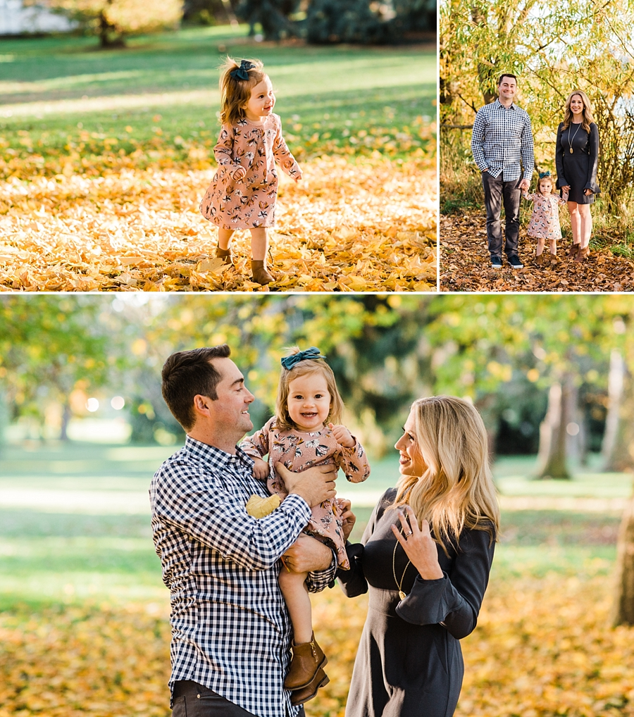 family photos with fall leaves in seattle