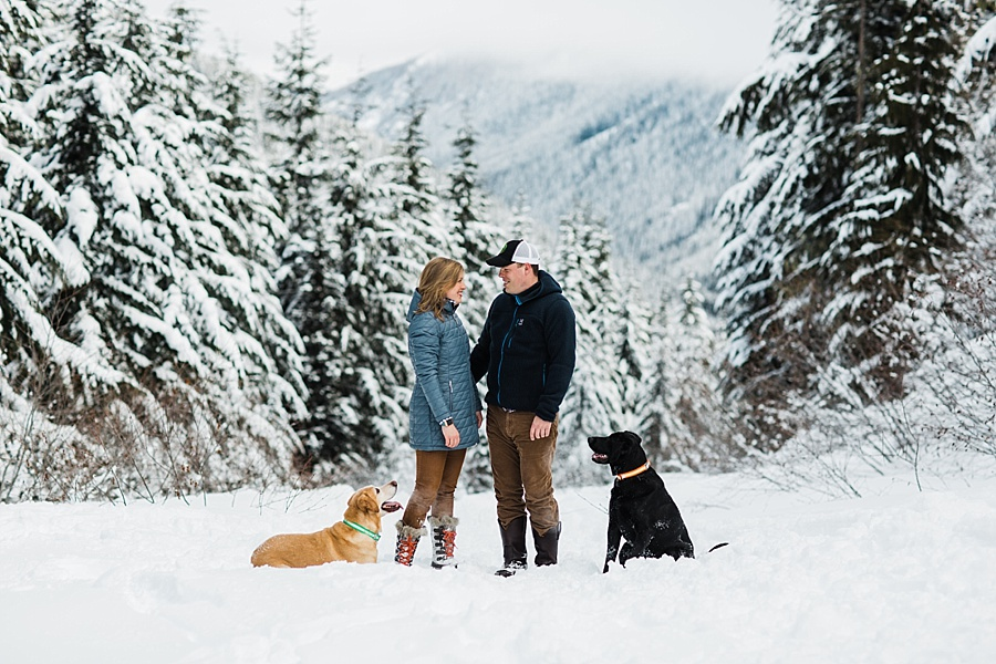 snowy skiing engagement photos at crystal mountain