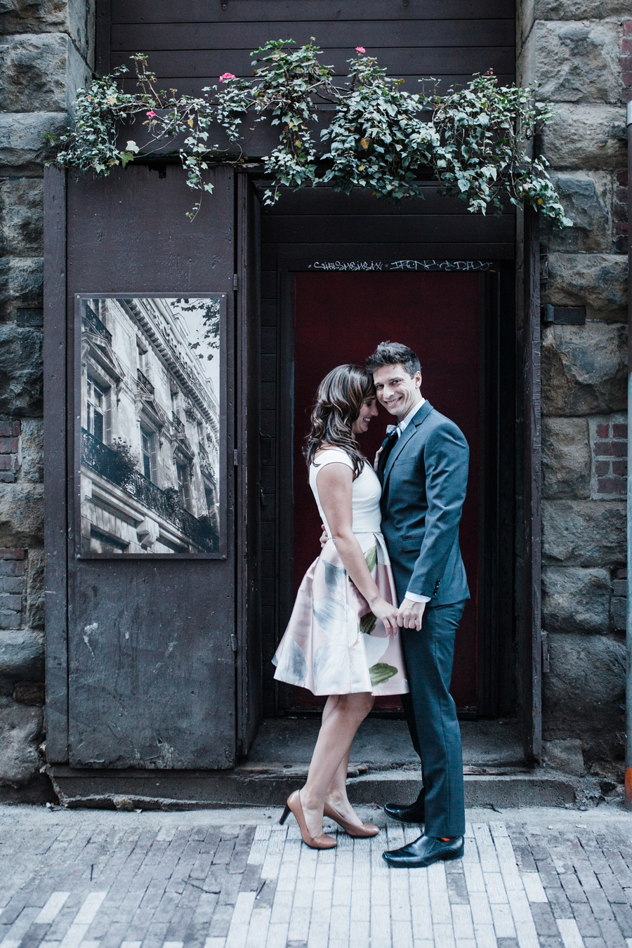 downtown Seattle engagement photos in Pioneer Square