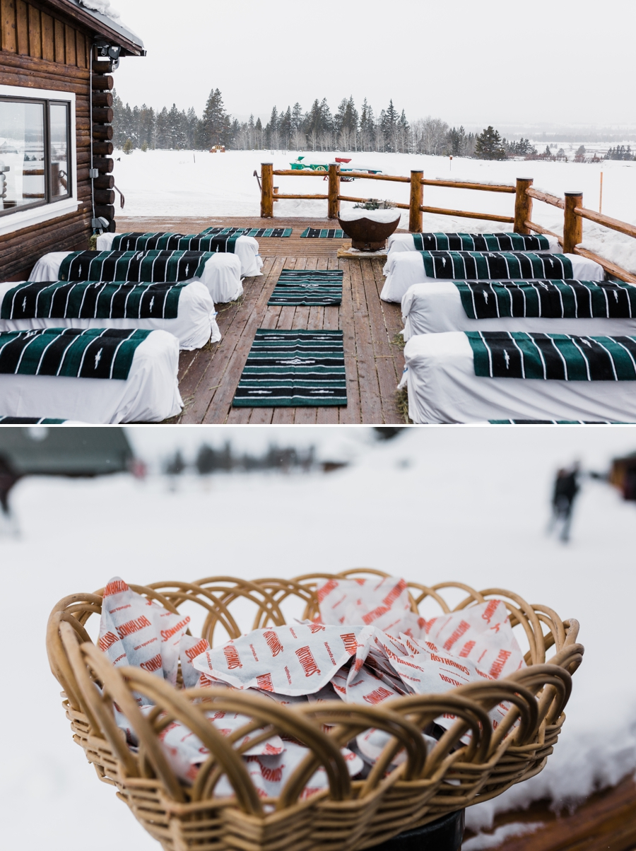 How to Plan a Winter Wedding by Adventure Wedding Photographer Amy Galbraith - Winter Wedding Ceremony with Blankets for Guests
