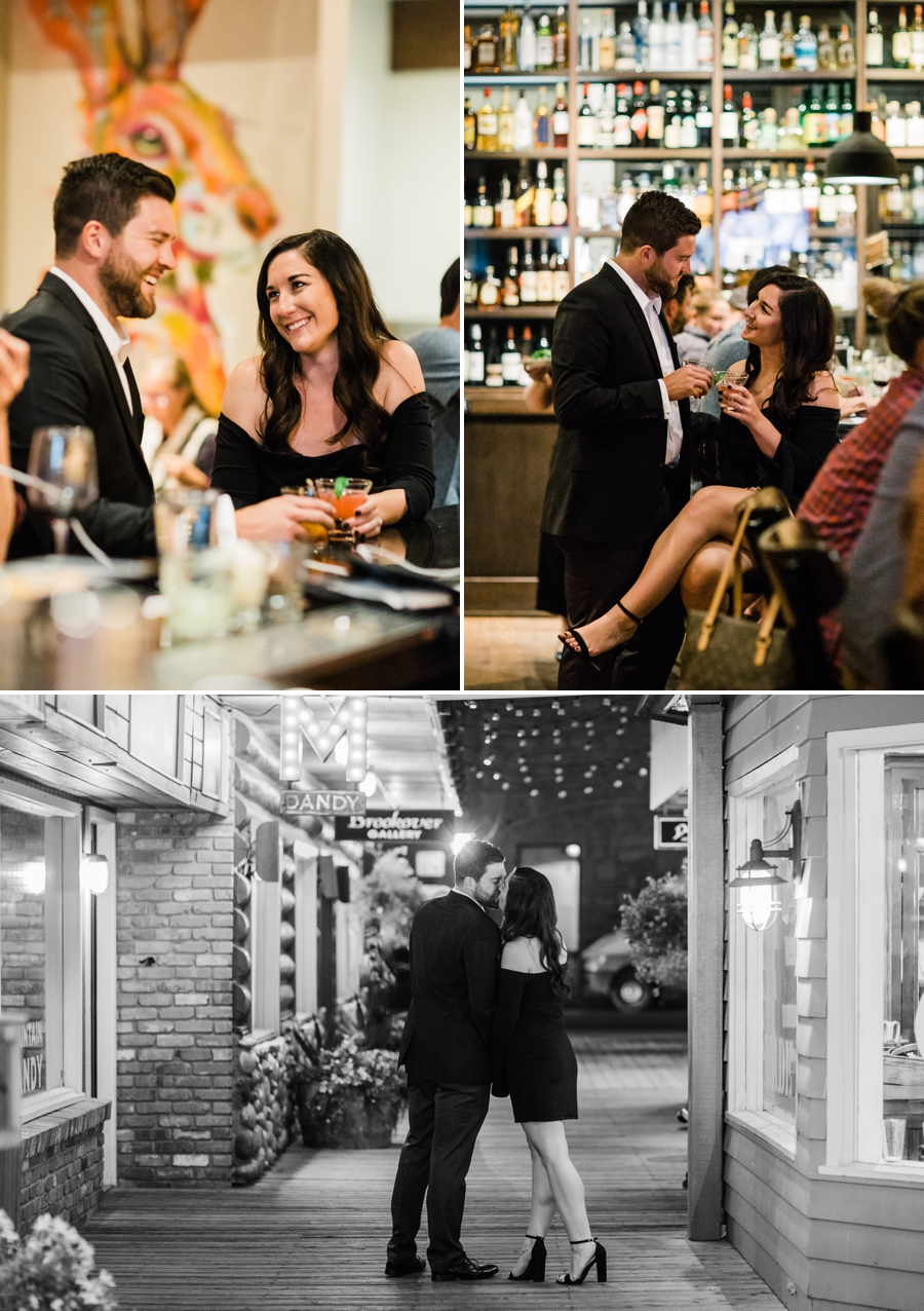 Engagement photos in a Jackson Hole bar by Jackson Hole wedding photographer Amy Galbraith