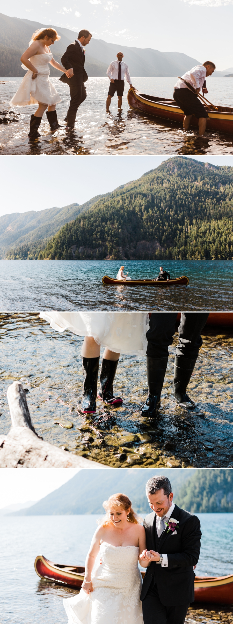 A bride and groom get into a canoe after their wedding ceremony in Olympic National Park