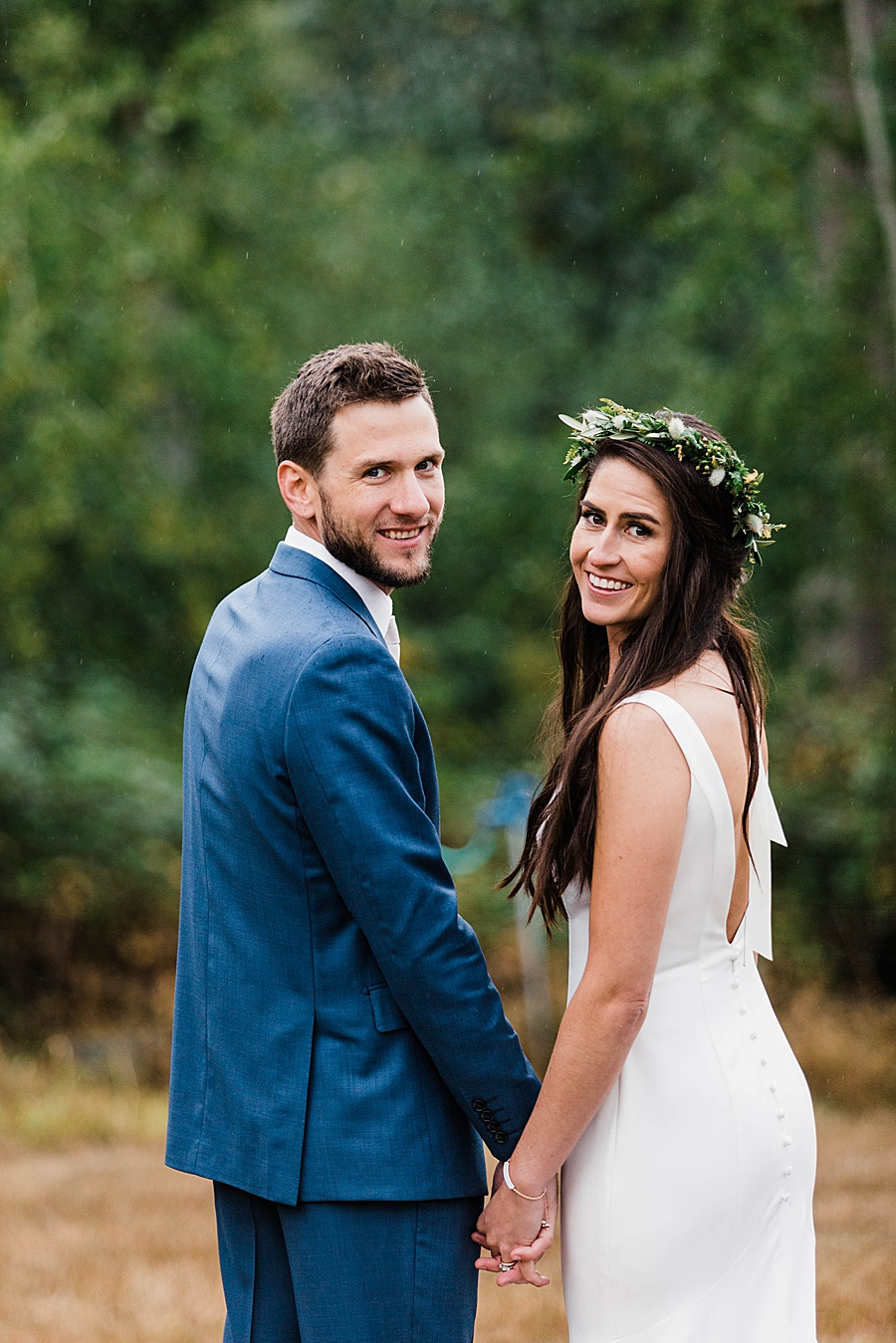 Autumn Boho Wedding at Old Chaser Farm by Seattle outdoor wedding photographer Amy Galbraith - Simple Wedding Gown from A & Be Bridal