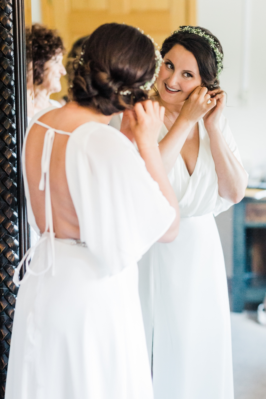 Bride getting ready for her wedding at Grand Targhee Resort in Wyoming