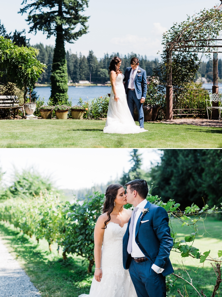 A bride and groom pose for photos on a hot summer day during their wedding at Green Gates at Flowing Lake by Seattle wedding photographer Amy Galbraith