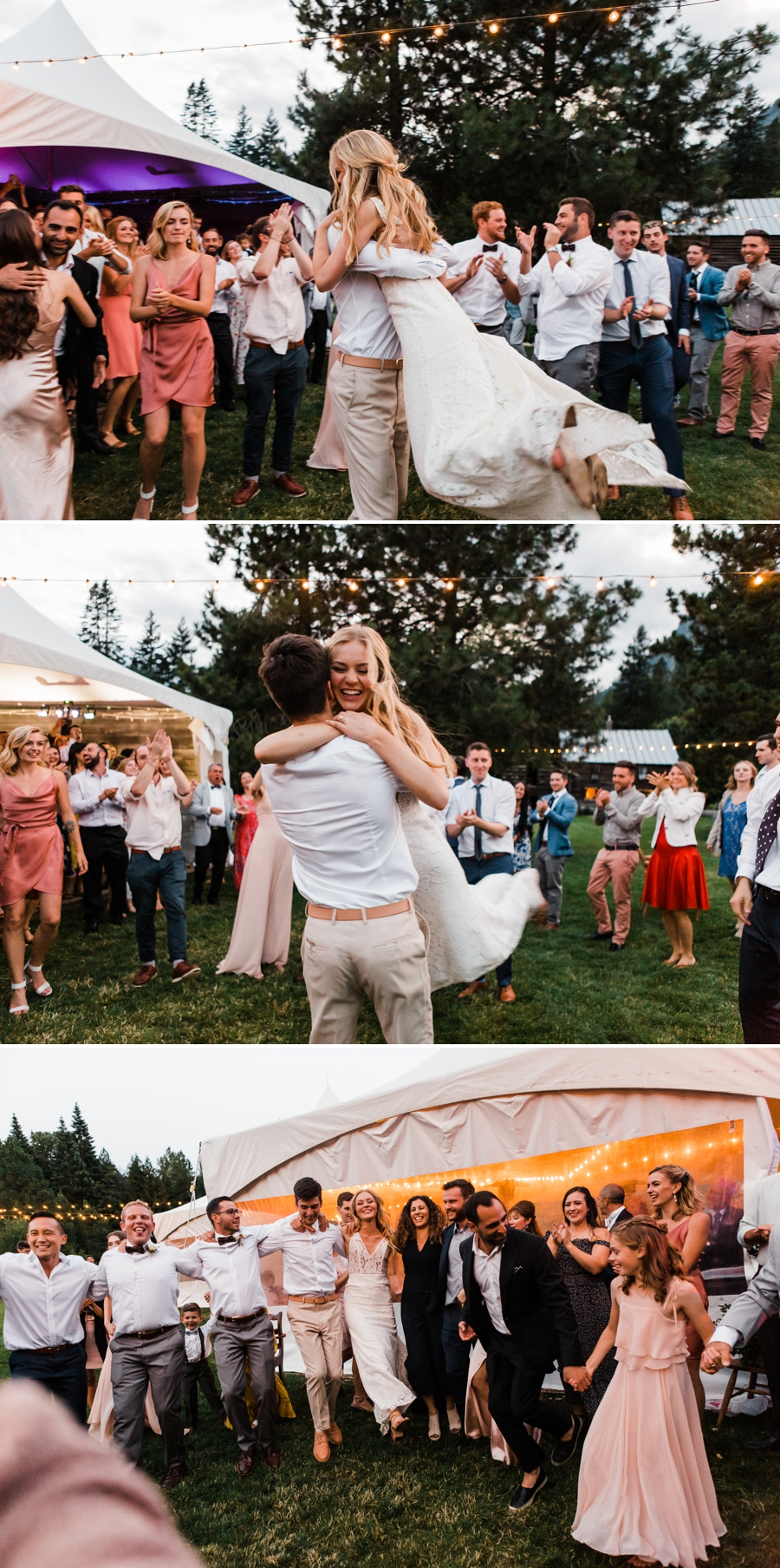 A fun-filled horah dance at Brown Family Homestead in Leavenworth, Washington, photographed by mountain wedding photographer Amy Galbraith