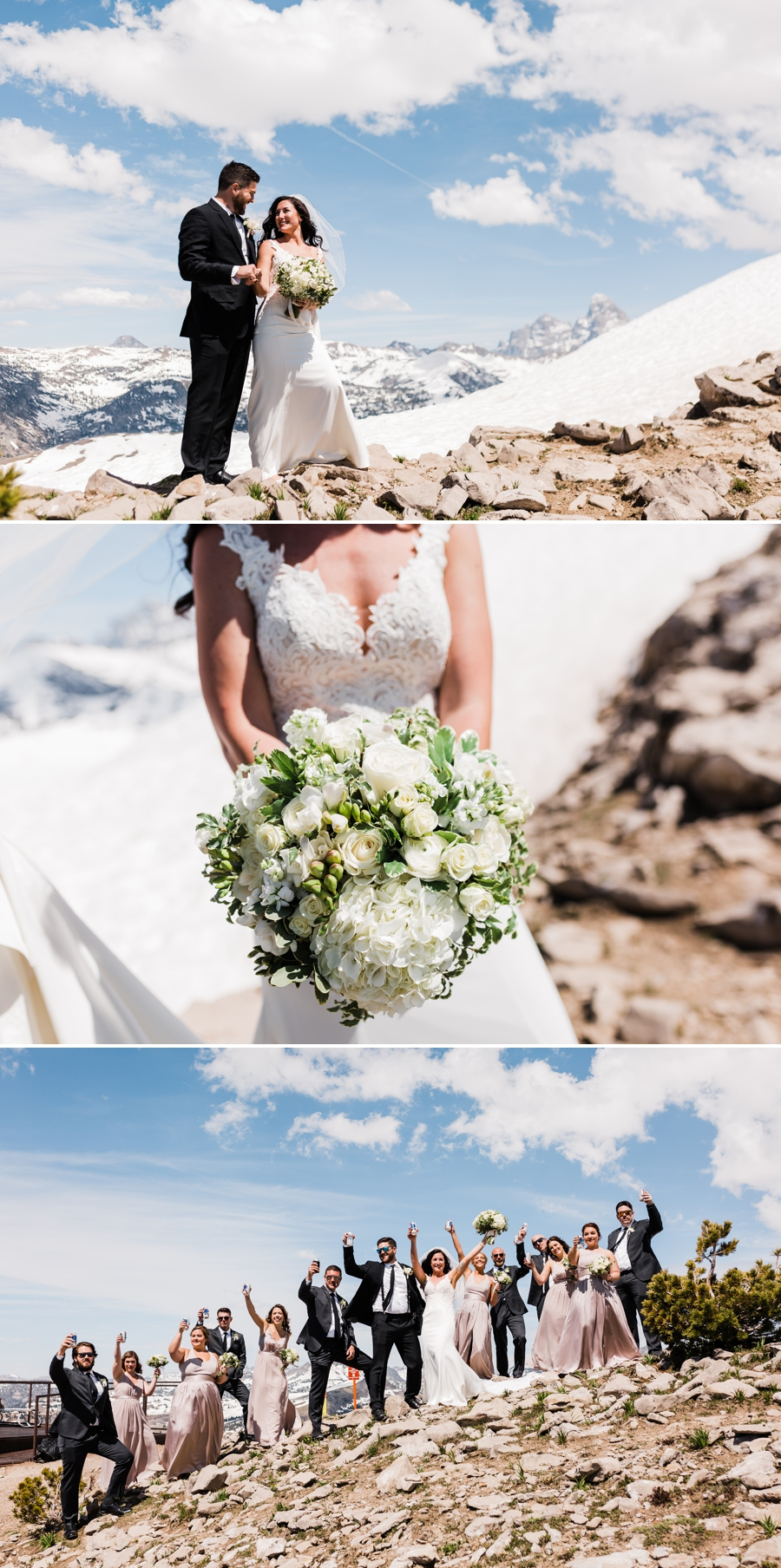 A bride and groom take photos with mountain wedding photographer Amy Galbraith at Grand Targhee Resort