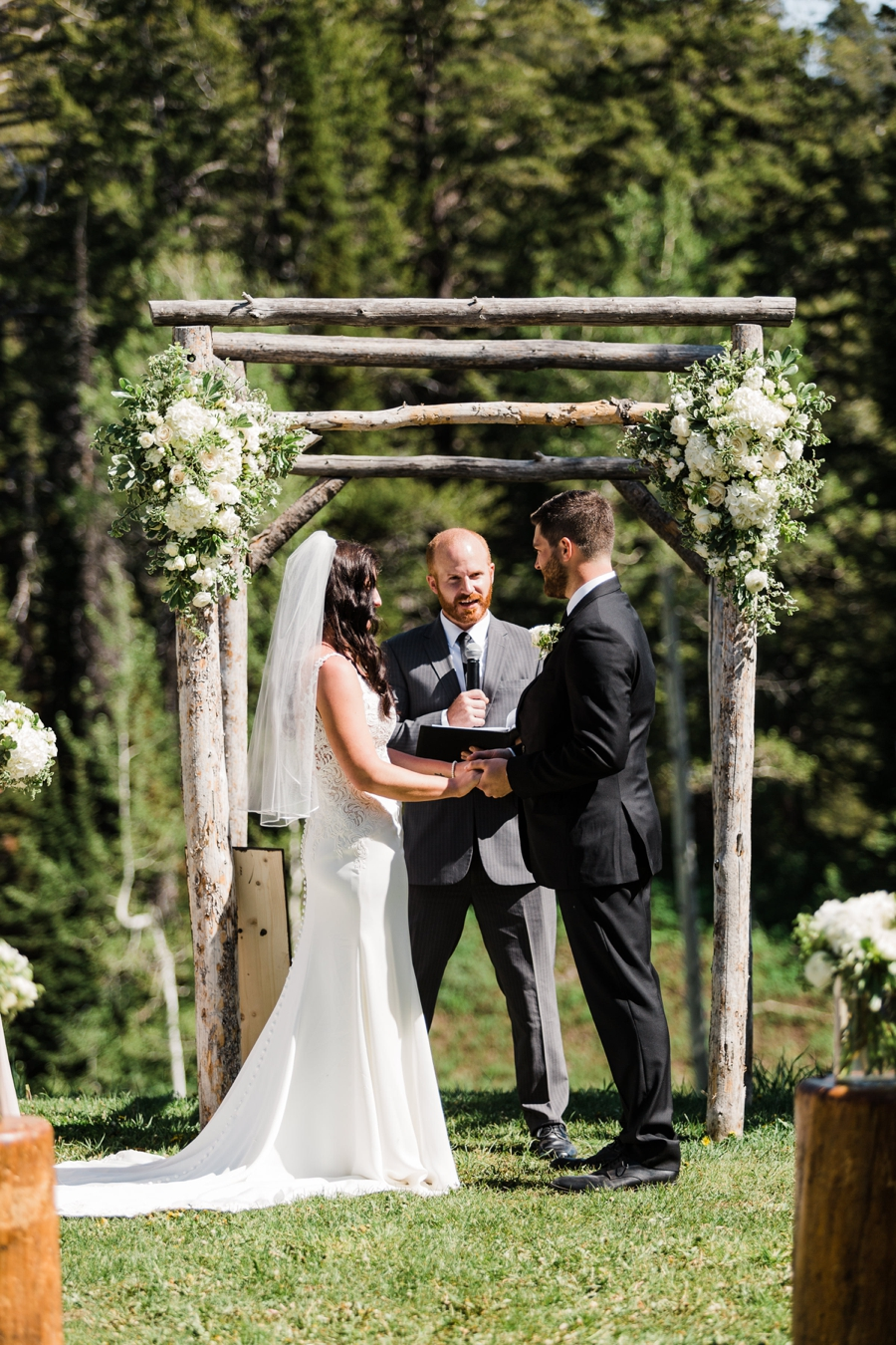 A mountain wedding ceremony at Grand Targhee in Wyoming